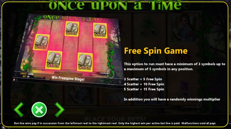 Once Upon A Time :: Free Spins Rules