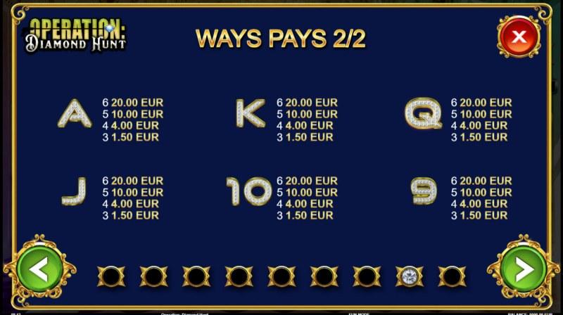 Operation Diamond Hunt :: Paytable - Low Value Symbols