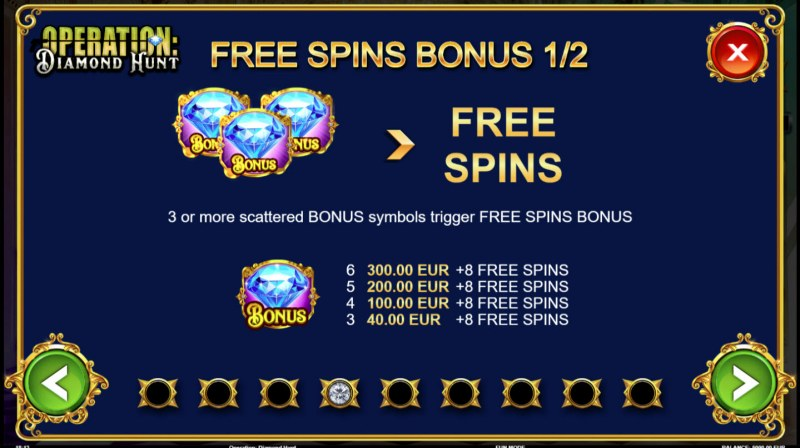 Operation Diamond Hunt :: Free Spins Rules