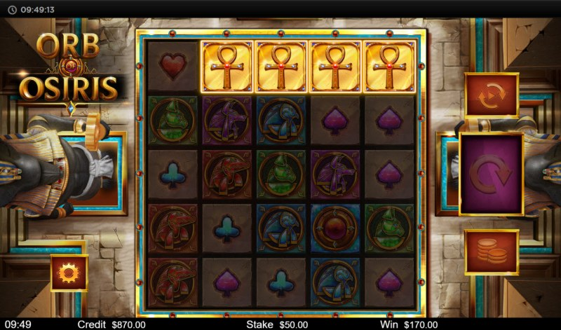 Orb of Osiris :: Scatter symbols triggers the free spins bonus feature