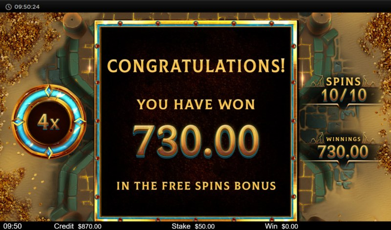 Orb of Osiris :: Total Free Spins Payout