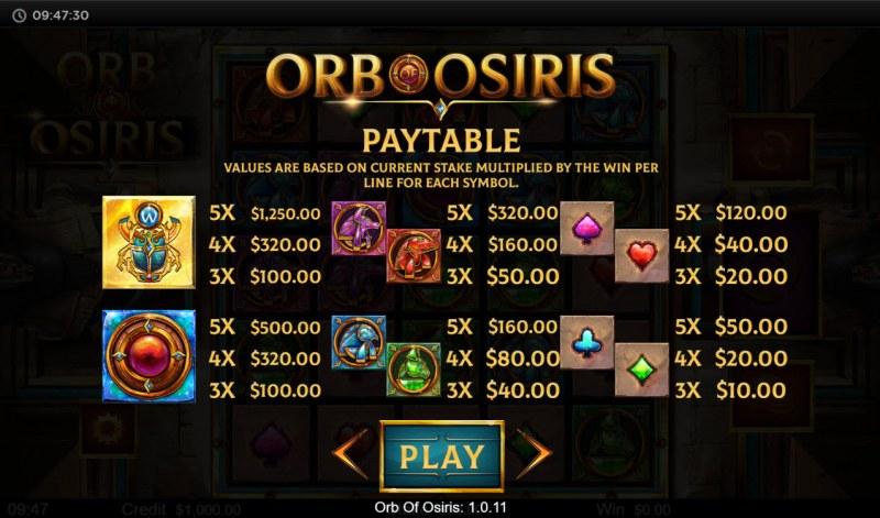 Orb of Osiris :: Paytable