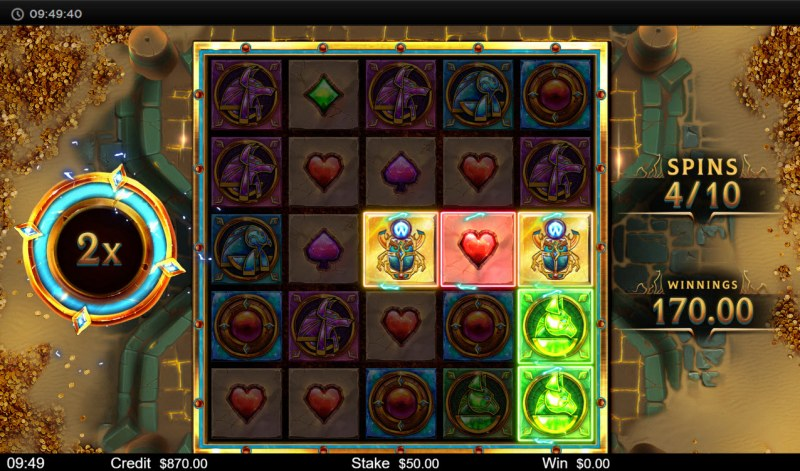 Orb of Osiris :: Free Spins Game Board