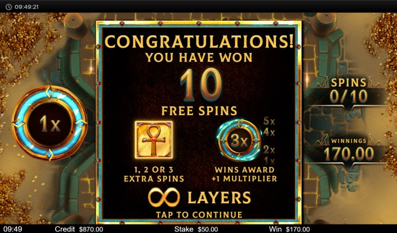 Orb of Osiris :: 10 free spins awarded