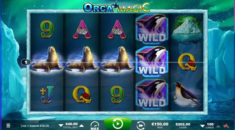 Orca Magic :: A four of a kind win