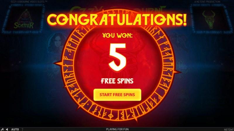 Ozzy Osbourne :: 5 free spins awarded