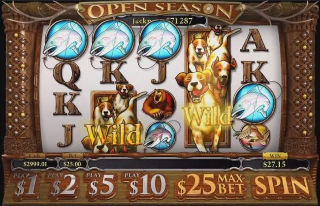 Slotland featuring the Video Slots Open Season with a maximum payout of Jackpot