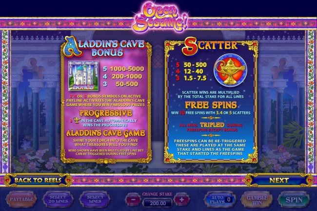Aladdins Cave Bonus and Free Spins game rules