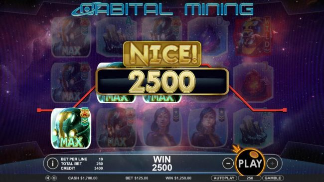 Vive Mon Casino featuring the Video Slots Orbital Mining with a maximum payout of $12,500