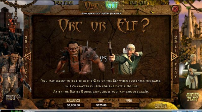 Orc vs Elf :: You may select to be either Orc or the Elf when you enter the game.
