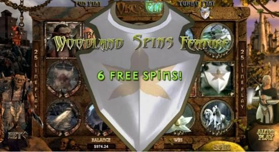 Orc vs Elf :: woodland spins feature triggered 6 free spins awarded