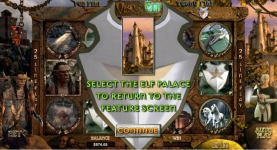 Orc vs Elf :: select the elf palace to return to the feature screen