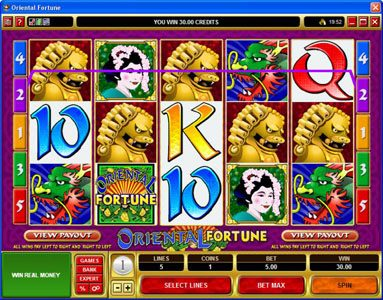 Yukon Gold featuring the Video Slots Oriental Fortune with a maximum payout of $25,000