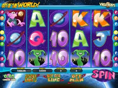 Out of this World :: main game board featuring five reels and nine paylines