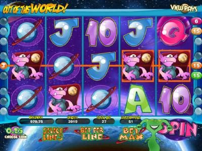 Slots Jackpot featuring the Video Slots Out of this World with a maximum payout of $20,000