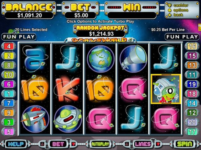 Bovegas featuring the Video Slots Outta This World with a maximum payout of $250,000