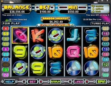 Pure Vegas featuring the Video Slots Outta This World with a maximum payout of $250,000