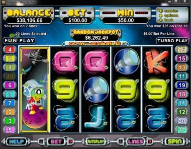 Slots.com featuring the Video Slots Outta This World with a maximum payout of $250,000