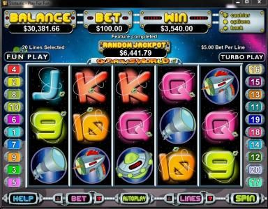 Slotsville featuring the Video Slots Outta This World with a maximum payout of $250,000