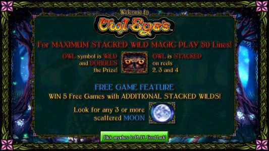 Money Storm featuring the Video Slots Owl Eyes with a maximum payout of $2,000
