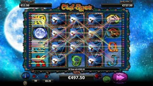Casino Red Kings featuring the Video Slots Owl Eyes with a maximum payout of $2,000