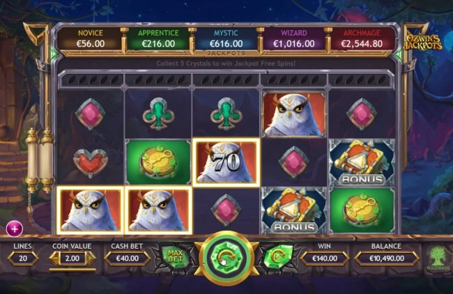 Zet Casino featuring the Video Slots Ozwin's Jackpots with a maximum payout of $160,000