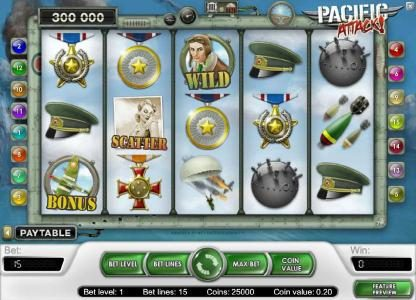 6 Black featuring the Video Slots Pacific Attack with a maximum payout of $20,000