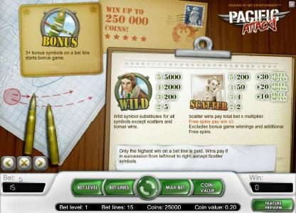 Vegas Winner featuring the Video Slots Pacific Attack with a maximum payout of $20,000