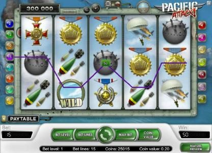 VipSpel featuring the Video Slots Pacific Attack with a maximum payout of $20,000