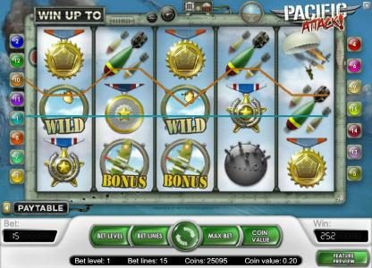 Shadowbet featuring the Video Slots Pacific Attack with a maximum payout of $20,000