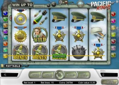 Slot Planet featuring the Video Slots Pacific Attack with a maximum payout of $20,000