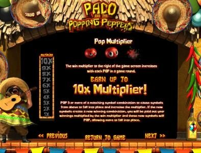 Drake featuring the Video Slots Paco and the Popping Peppers with a maximum payout of $2,500