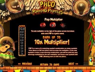 123 Vegas Win featuring the Video Slots Paco and the Popping Peppers with a maximum payout of $2,500