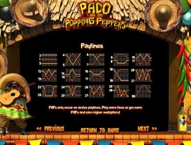 Unique Casino featuring the Video Slots Paco and the Popping Peppers with a maximum payout of $2,500
