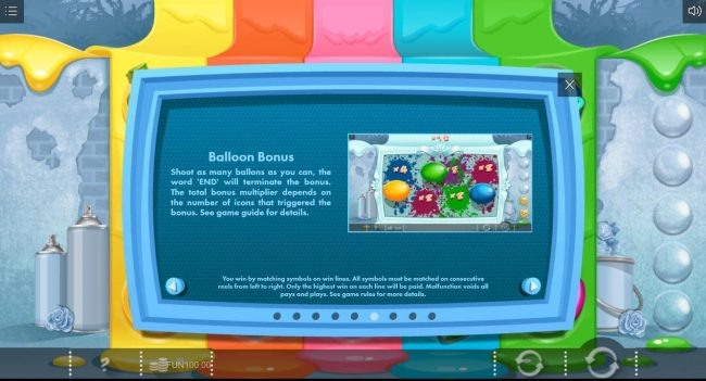 Paint :: Balloon Bonus - Shoot as many balloons as you can, the word END will terminate the bonus. The total bonus multiplier depends on the number of icons that triggered the bonus.