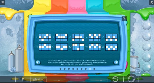 Paint :: Payline Diagrams 11-20. You win matching symbols on win lines. All symbols must be matched on consecutive reels from left to right. Only highest win on each line will be paid.
