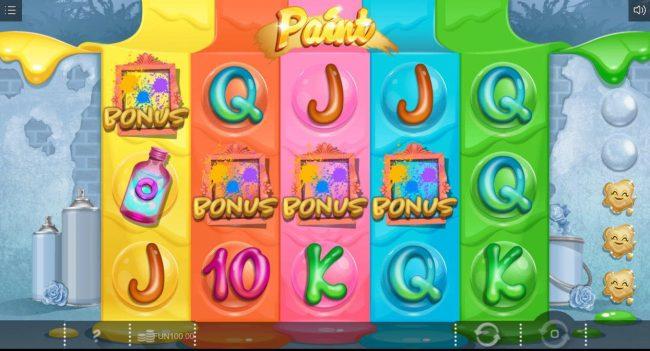 Paint :: Bonus four of a kind triggers the Balloon Bonus feature.
