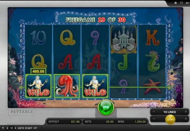 Spinrider featuring the Video Slots Palace of Poseidon with a maximum payout of $30,000