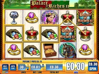 Zinger Spins featuring the Video Slots Palace of Riches II with a maximum payout of $2,250