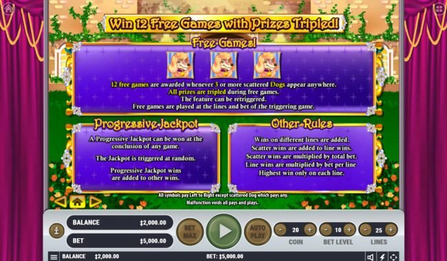 TheBesCasino featuring the Video Slots Pamper Me with a maximum payout of $2,500,000