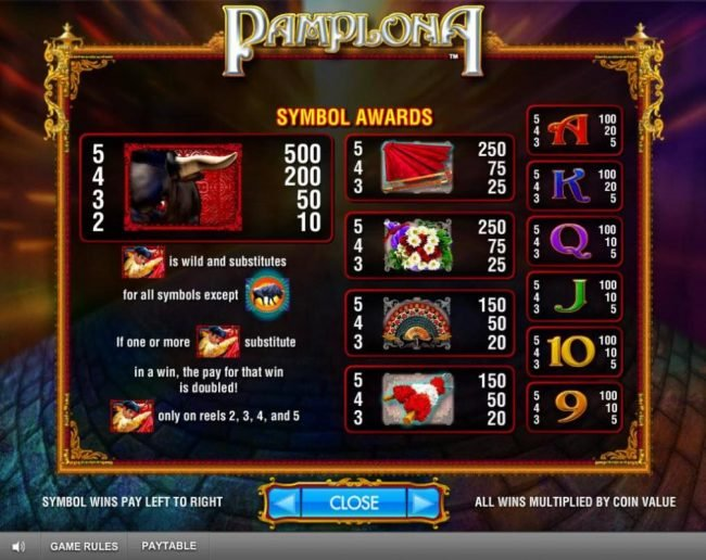 Slot game symbols paytable featuring bullfighting inspired icons.
