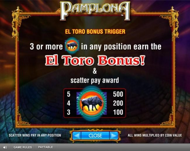 Betfred featuring the Video Slots Pamplona with a maximum payout of $250,000