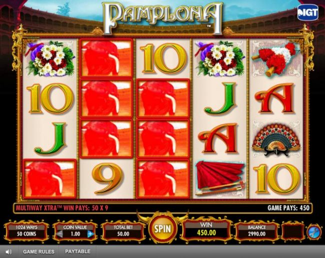 Egypt Slots featuring the Video Slots Pamplona with a maximum payout of $250,000