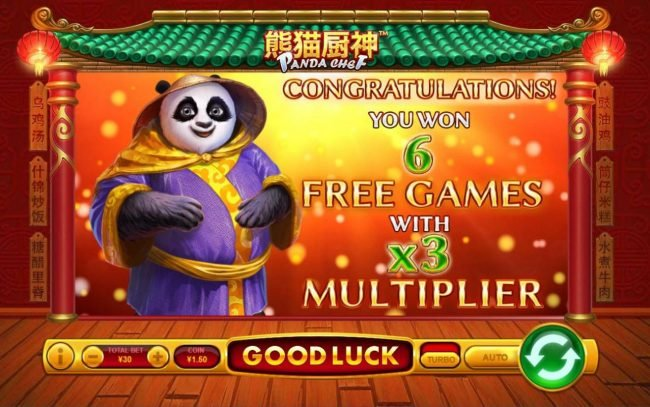 Panda Chef :: Player is awarded 6 free games with an x3 win multiplier