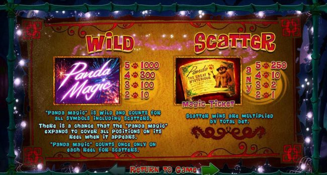 Slots of Vegas featuring the Video Slots Panda Magic with a maximum payout of $500,000