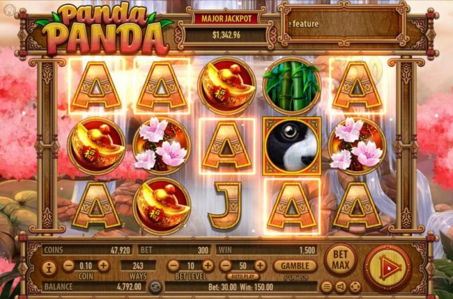 Videoslots featuring the Video Slots Panda Panda with a maximum payout of $150,000