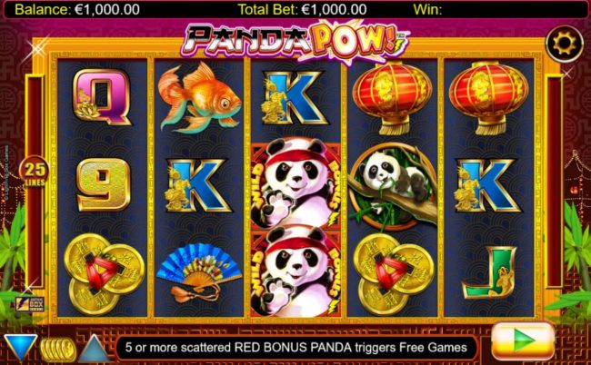 An Asian panda bear themed main game board featuring five reels and 25 paylines with a $20,000 max payout.