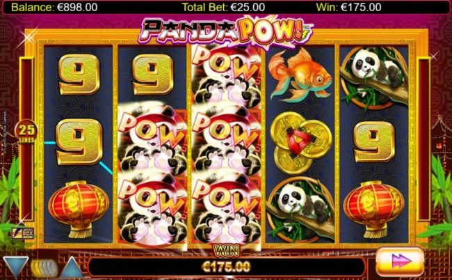 Spinrider featuring the Video Slots Panda Pow with a maximum payout of $20,000