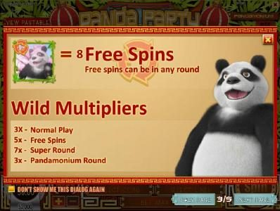 Winbig21 featuring the Video Slots Panda Party with a maximum payout of $3,750
