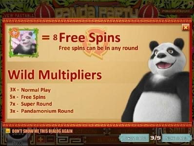 Crazy Luck featuring the Video Slots Panda Party with a maximum payout of $3,750